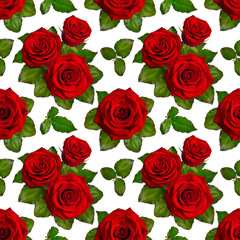 Seamless background with red roses. Isolated on white background