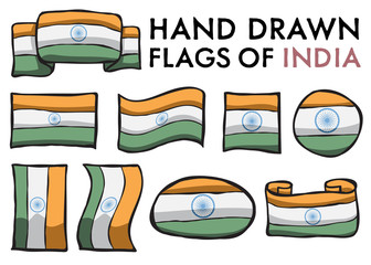 Set of Indian Hand Drawn / Doodled  National Flags. High-Quality Vector Illustration. Grouped, Ready To Use!