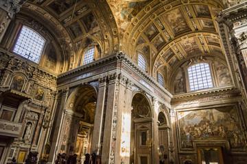 Interior in Gesu Nuovo church in Naples