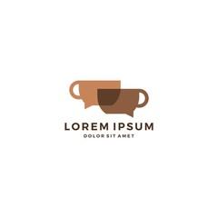 coffee talk chat bubble mug logo vector download