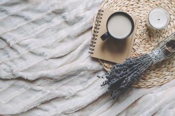 Mug with coffee and home decor on tray