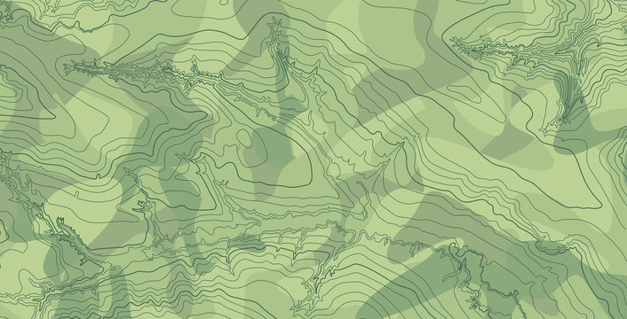 Abstract vector topographic map in green colors