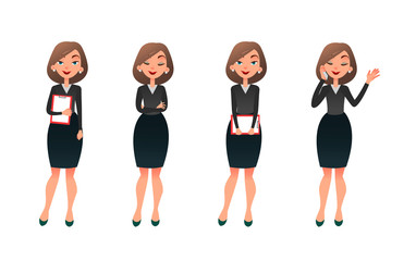 Set character businesswoman in various poses. Cartoon vector secretary or teacher on different working situations. Smiling business woman flat character on a white background
