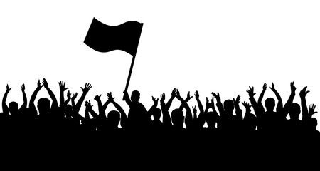 Crowd of people silhouette. Sports fans. People cheerful. Man with flag
