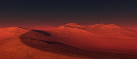 Martian landscape, surface of Mars