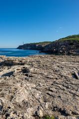 Blue coast of Portinatx on the island of ibiza