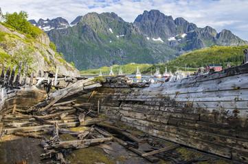 Épave de bateaux aux Lofoten