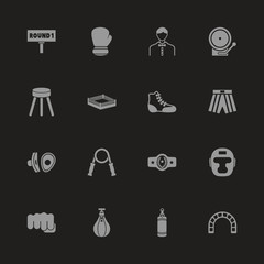Boxing and Fighting icons - Gray symbol on black background. Simple illustration. Flat Vector Icon.