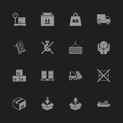Cargo icons - Gray symbol on black background. Simple illustration. Flat Vector Icon.