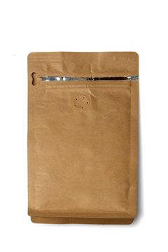 Ziploc paper bag on white background. Mockup for design