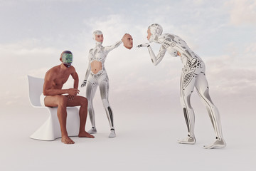 Futuristic woman removing face of robot man revealing circuits