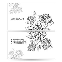Business card with flowers silhouette concept