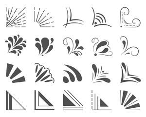 Set of 20 hand drawn corners and design elements. Hand drawn corner set. Vector frames