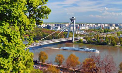 Bridge SNP over Danube river in Bratislava, Slovakia
