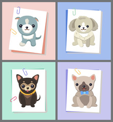 Papers with Dogs Images Set Vector Illustration