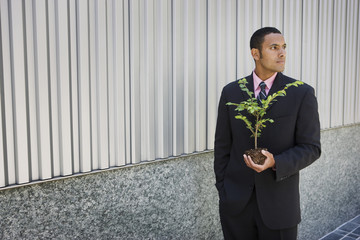 Pensive mixed race businessman holding seedling