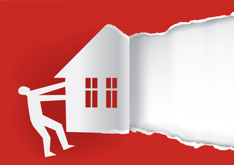 Real estate for sale background template. Man ripped red paper with house silhouette. Concept for Real estate for sale. Vector available.