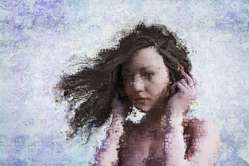 Wind blowing hair of pixelated woman