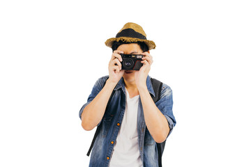 Young tourist with hat and sunglasses smiling and holding camera isolated over white background with clipping mask, clipping path