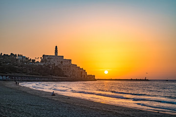 Old town of Jaffa on sunset.