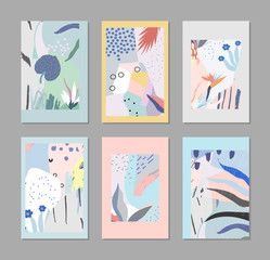 Set of creative trendy cards. Modern art. Cover design. Hand Drawn textures. Design for banner, poster, card, invitation, placard, brochure. Vector