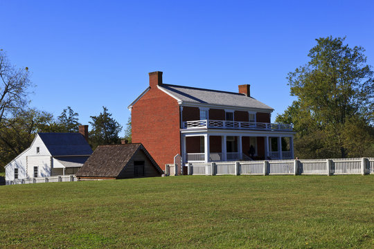 The McLean House in Appomattox Court House in Virginia. Clover Hill Village, a living history village. The surrender site of Lee and Grant April 9, 1865.