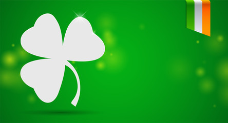 St. Patrick's day background with clover and irish flag