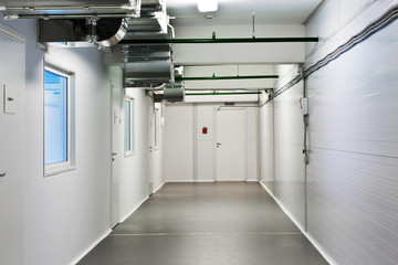 A corridor in the warehouse office