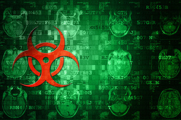 Red Biohazard symbol on green digital background with copyspace. Science concept.