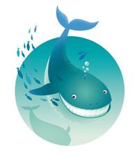 Blue Whale Ocean. Underwater landscape. Vector illustration.