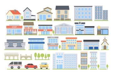 City buildings set. Wall mural