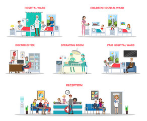 Hospital offices illustration.