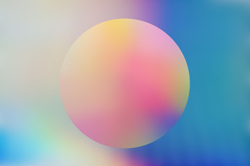 Spectrum abstract vaporwave holographic background with circle, trendy colorful backdrop in pastel neon color. For creative design cover, CD, poster, book, printing, gift card, fashion web & print