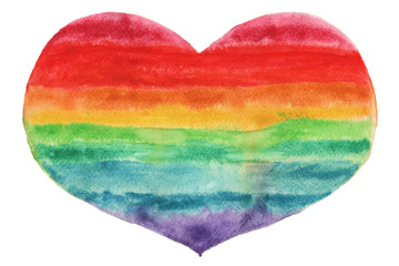 Heart drawn in watercolor with rainbow colored stripes