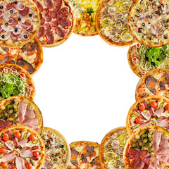 Collage of freshly baked homemade pizza. Top view.