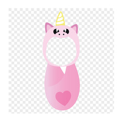 Pink unicorn photo sticker. Make your baby a unicorn.