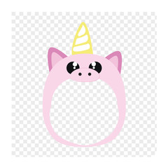 Pink unicorn mask - photo sticker. Make your baby a unicorn.