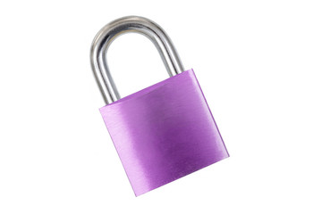 purple padlock isolated on white background without key