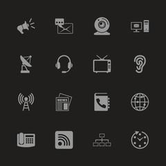 Communication icons - Gray symbol on black background. Simple illustration. Flat Vector Icon.