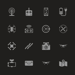 Drone icons - Gray symbol on black background. Simple illustration. Flat Vector Icon.