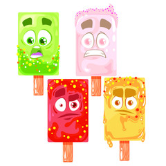 Vector ice cream set of character illustration isolated on white background.