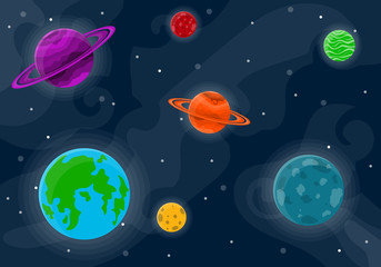 Space cute background. Vector illustration