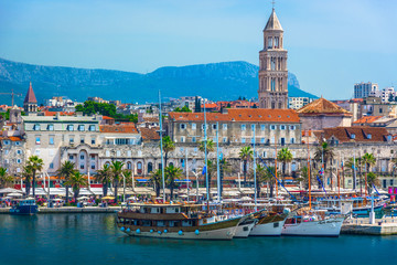 Split Croatia coastal view. / Seafront view at old city center in Split town, Diocletian Palace view from the Adriatic Sea, Croatia.