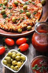 delicious italian pizza with bacon