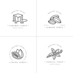 Vector set design monochrome templates logo and emblems - syrups and toppings-caramel, almond, cocoa, vanilla. Food icon. Logos in trendy linear style isolated on white background.