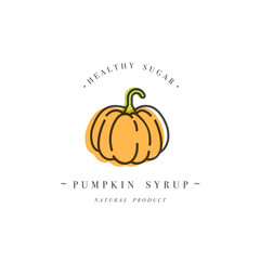 Packaging design template logo and emblem - syrup and topping - Orange pumpkin. Logo in trendy linear style.