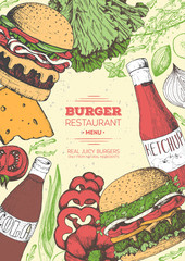 Burgers and ingredients for burgers vector illustration. Fast food, junk food frame. American food. Elements for burgers restaurant menu design. Colored image, retro style.