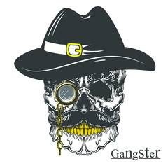 Vector illustration of gangster skull with mustache, hat and monocle. Isolated on white background.