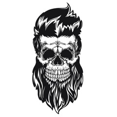 Black vector illustration of skull with beard, mustache, hipster haircut. Isolated on white background