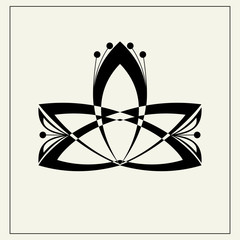 Lotus flower. Geometric vector. White and black ornament